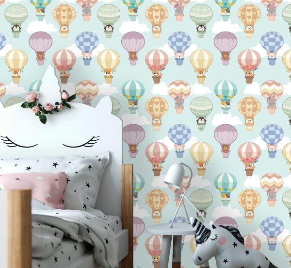 wallpaper nursery wall mural animals air balloon self adhesive vinyl