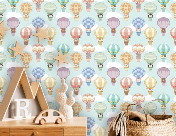 wallpaper nursery wall mural animals air balloon self adhesive vinyl olirint art