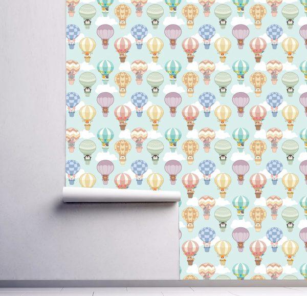 wallpaper nursery wall mural animals air balloon peel and stick oliprint art