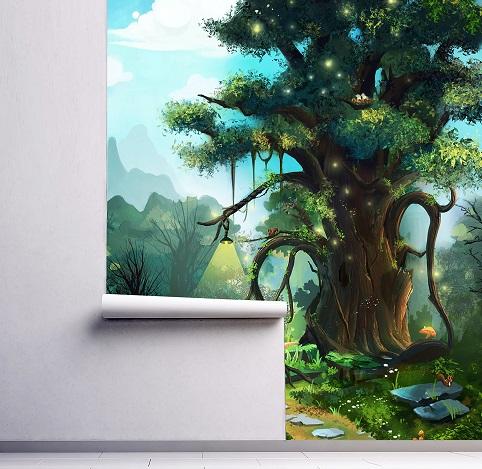 nursery magic forest oliprint art wall mural fairy tree peel and stick