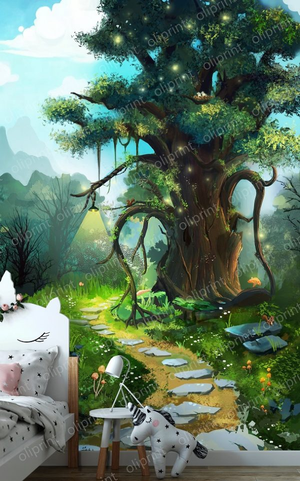 nursery magic forest oliprint art wall mural fairy tree wallpaper for baby