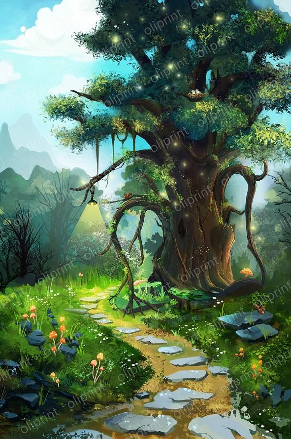 nursery magic forest oliprint art wall mural fairy tree
