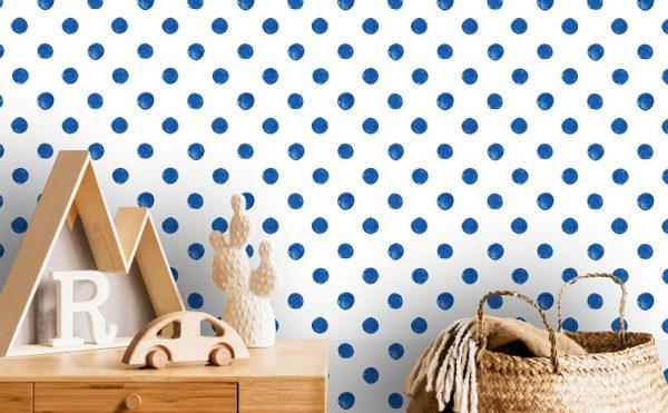 wallpaper murals repositionable watercolor minimalist points blue romantic love nursery