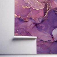 Wallpaper,Purple with Gold,      Art Abstract Design,   Wall Mural,Self Adhesive or Vinyl with Sparkles