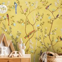 Wallpaper Blooming garden with  Birds,     Gold&Yellow,     Vinyl or Self Adhesive