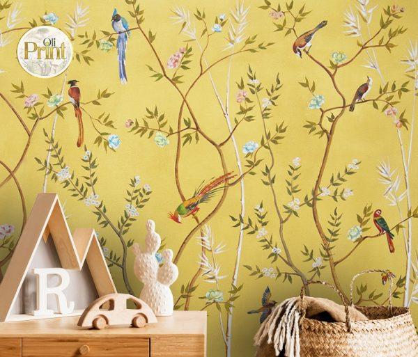 wallpaper wall mural chinoiserie beige green japain birds sakura nursery self adhesive