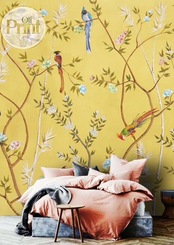 wallpaper wall mural chinoiserie beige green japain birds sakura self adhesive