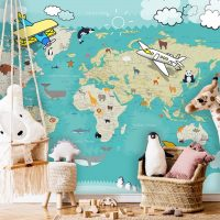 Children's Wallpaper,Nursery,            World Map with Details,Aminals with Aircraft,     Self Adhesive or Vinyl