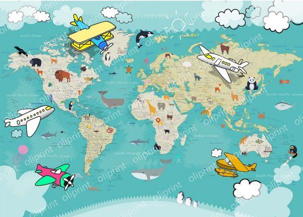 wallpaper nursery world map animals aircraft oliprint art murals self adhesive vinyl