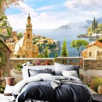 Wallpaper Beautiful View,  Summer in Italy,City Wall mural,Architecture,   Self Adhesive or Vinyl