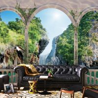 Wallpaper 3D Wall mural Nature,  Beautifful view,Rocks with Lake   Self Adhesive or Vinyl
