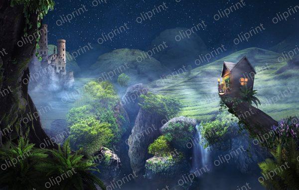 wallpaper 3d wall mural nursery magical forest fairy house fog blue wakk mural self adhesive peel and stick