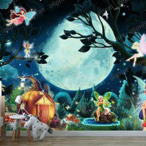 wallpaper nursery magical forest full moon baby mural fairy