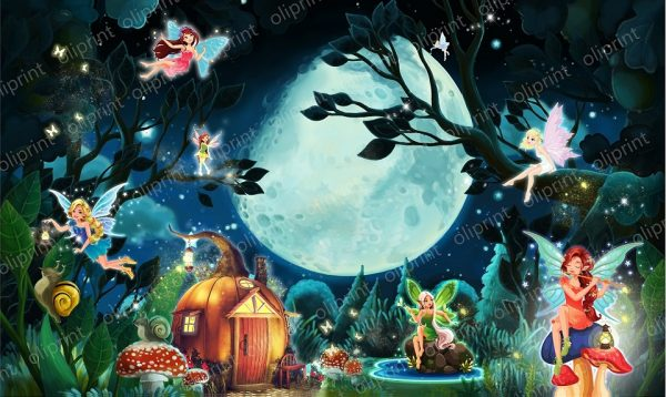 wallpaper nursery magical forest full moon baby mural fairy self adhesive vinyl peel and stick