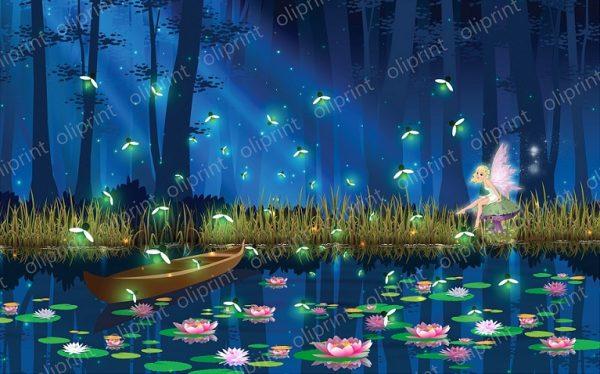 nursery wall nural magical forest lake fairies firefly dance nursery wallpaper baby mural girl room