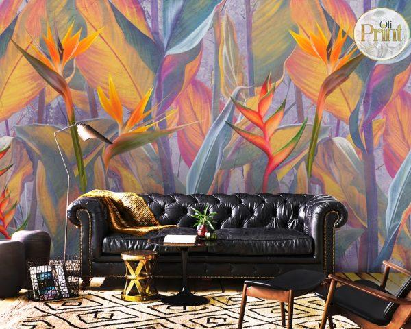 wallpaper tropical flowers orange yellow wall mural peel and stick