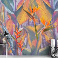 Wallpaper,Floral Forest,        Tropical Flowers,Wall mural,  Self Adhesive or Vinyl material
