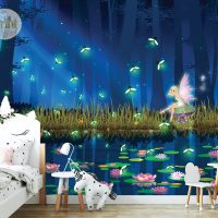 Nursery Wall mural,Firefly Dance,    Faerie in Magical Forest,    Wallpaper Self Adhesive or Vinyl