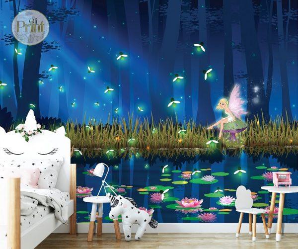 nursery wall nural magical forest lake fairies firefly dance nursery wallpaper baby mural girl room self adhesive vinyl peel and stick
