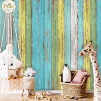 Wallpaper,3D Wall mural,   Colorful Wooden Planks, Self Adhesive or Vinyl