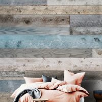 Wallpaper 3D Wall mural,   Wooden Planks,Grey with Blue,  Self Adhesive or Vinyl