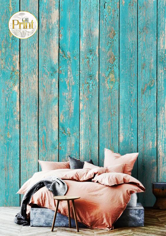 wall mural 3D wallpaper wood blue turquoise design old wooden mural design oliprint art self adhsive
