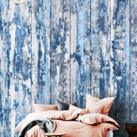 3D Wall mural,Old Wood,Wallpaper,   Wooden Planks in Blue,  Self Adhesive or Vinyl