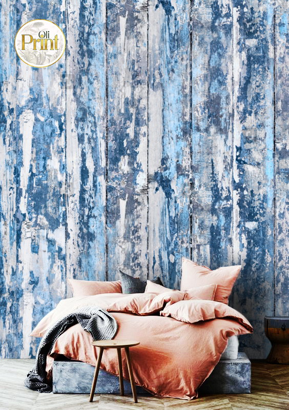 wall mural 3D abstract blue wallpaper wood blue grey design old wooden mural design oliprint art self adhsive