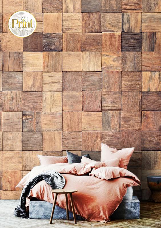 wall mural 3D wallpaper wood square grey design old wooden mural design oliprint art self adhsive