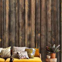 Wallpaper 3D Wall mural,   Wooden Planks in Brown,  Self Adhesive or Vinyl