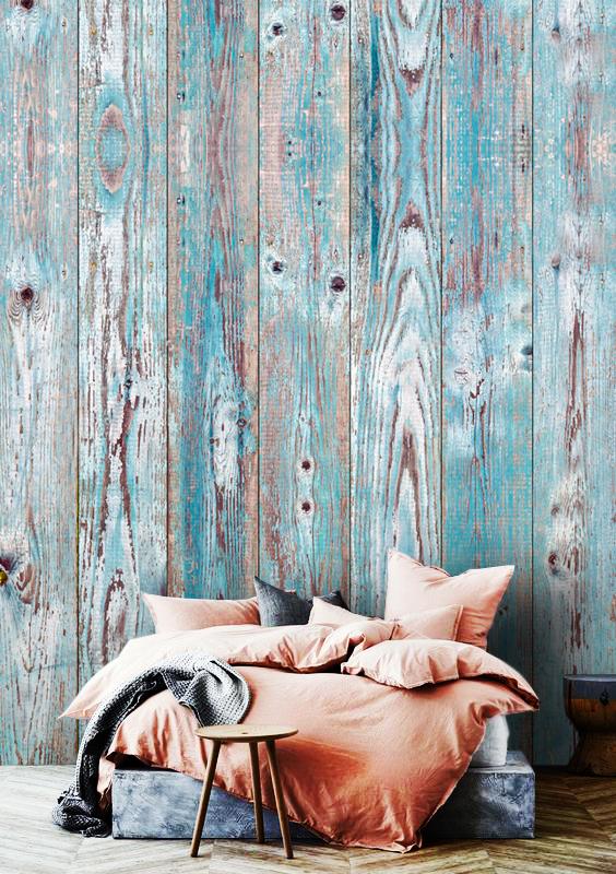 wall mural 3D wallpaper wood blue grey design old wooden mural design oliprint art self adhsive