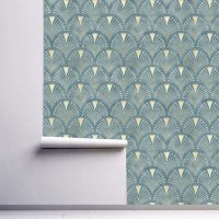 Wallpaper Luxury Style,      Pattern, Blue & Gold Graphic, Design,    Self Adhesive or Vinyl