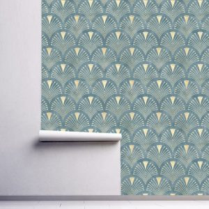 wallpaper wall mural decals self adhesive removable minimalist blue gold abstract design wall art graphic