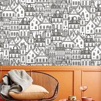 Wallpaper Houses,City Pattern,    Black & White,Graphic,    Self Adhesive or Vinyl