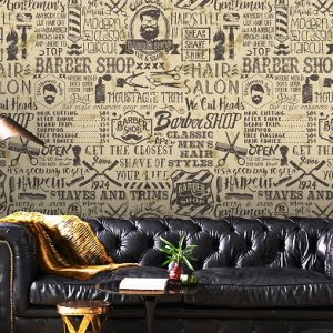 removable wallpaper barber shop wall mural self adhesive vinyl peel and stick