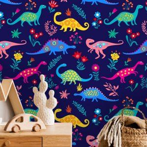 oliprint-art removable wallpaper nursery dinosaurs pattern blue color wall mural kids room decor self adhesive peel and stick vinyl