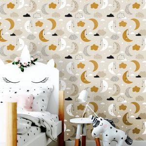 oliprint-art removable wallpaper nursery moon pattern beige color wall mural bedroom self adhesive vinyl peel and stick