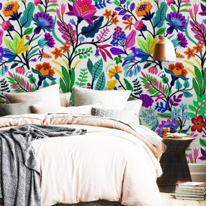 removable wallpaper oliprint art floral ethnic flowers art wall mural peel and stick