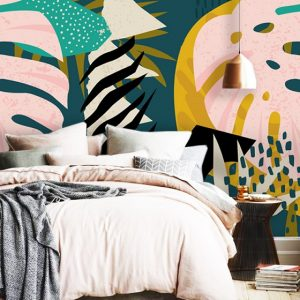 oliprint art wall mural wallpaper Tropical art abstract Self Adhesive vinyl peel and stick