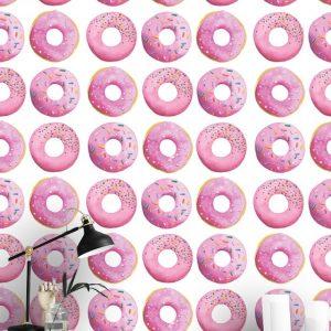 Wallpaper,Pink Donuts,Watercolor Art,Wall Mural,Self Adhesive or Vinyl