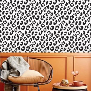 Wallpaper,Leopard Art,Black and White,Ink,Removable wallpaper,Self Adhesive or Vinyl