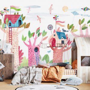 oliprint-art removable wallpaper nursery art tree colorful wall mural kids room decor self adhesive peel and stick vinyl