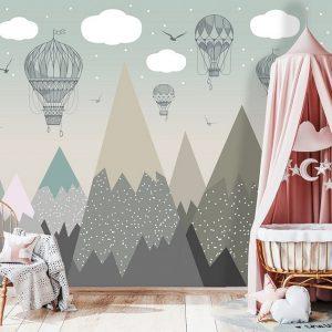 removable wallpaper nursery mountains wall mural air baloon self adhesive kids room decor