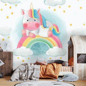 removable wallpaper oliprint art unicorn nursery kids wallpaper peel and stick vinyl self adhesive