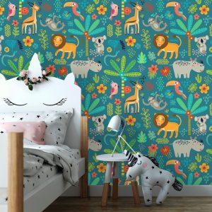 removable wallpaper oliprint art safari tropical palm animals lion giraffe nursery kids wallpaper peel and stick vinyl self adhesive