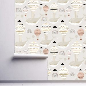 removable wallpaper for children self adhesive peel and stick Flying Whales Air Balloon Beige Nursery
