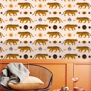 removable wallpaper tiger wall mural living room bedroom peel and stick nursery self adhesive safari beige color